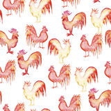 Pattern whith roosters. Seamless pattern whith roosters in colorful watercolor Stock Image