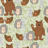 The pattern with wild animals, cute bear, hedgehog, hare and beaver. Background with green leaves. Stock Photo