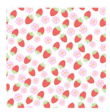 Pattern with wild strawberry Stock Photos