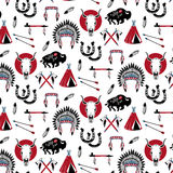 Pattern with wild west elements. Indian chief headdress ,indian chief mascot, indian tribal headdress, indian headdress Stock Image