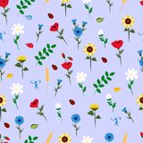 Pattern with wildflowers on a blue background vector illustration