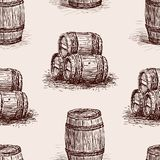 Pattern of the wine barrels sketches. Seamless background of the wooden wine casks Stock Image