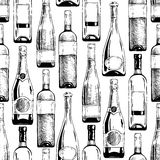 Pattern with wine and champagne bottles Royalty Free Stock Images