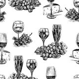 Pattern of the wine glasses,grape and cheese Stock Image
