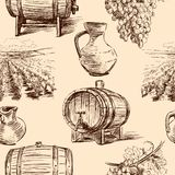 Pattern with wine making vector illustration