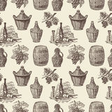 Pattern a winemaking. Vector pattern of a theme of a wine making stock illustration