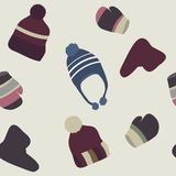 Pattern with winter baby clothing Stock Photos