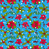 Pattern with winter flowers and berries Royalty Free Stock Images