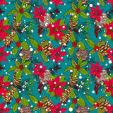 Pattern with winter flowers and berries Stock Photography