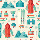 Pattern of winter sports icon Royalty Free Stock Images