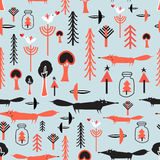 Pattern with winter trees and foxes Stock Image