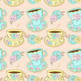 Pattern With Cups And Roses Stock Photo