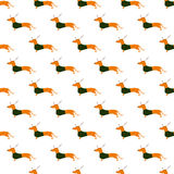 Pattern With Dachshund In Christmas Suit Royalty Free Stock Photography