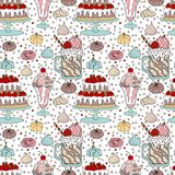 Pattern With Dessert Royalty Free Stock Image