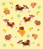 Pattern With Farm Animals Royalty Free Stock Photography