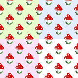 Pattern With Fly Agaric Stock Photography