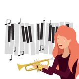 Pattern of woman with trumpet character. Vector illustration design royalty free illustration