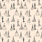 Pattern of the women in evening dresses Royalty Free Stock Photo