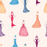 Pattern of the women in evening dresses Royalty Free Stock Image