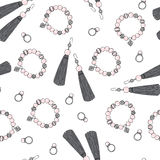 Pattern of women jewelry earrings, ring and bracelet. Royalty Free Stock Images