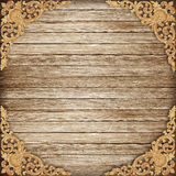 Pattern of wood carve flower on wood background Royalty Free Stock Photography