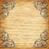 Pattern of wood carve flower on wood background.  Royalty Free Stock Photo