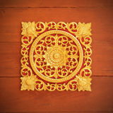 Pattern of wood carve gold paint for decoration. Pattern of wood carve gold paint for decoration Stock Photo