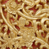 Pattern of wood carve gold paint for decoration. Pattern of wood carve gold paint for decoration Stock Photos