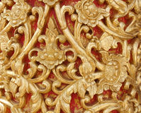 Pattern of wood carve gold paint for decoration. Pattern of wood carve gold paint for decoration Royalty Free Stock Photography