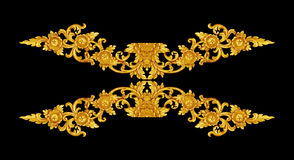 Pattern of wood carve gold paint for decoration on black backgro. Und Royalty Free Stock Photography