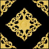 Pattern of wood carve gold paint for decoration on black backgro. Und Stock Photos