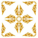 Pattern of wood carve gold paint for decoration on white backgro. Und Stock Image