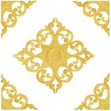 Pattern of wood carve gold paint for decoration on white backgro. The Pattern of wood carve gold paint for decoration on white background Stock Image