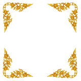Pattern of wood carve gold paint for decoration on white backgro. Und Royalty Free Stock Photos