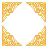 Pattern of wood carve gold paint for decoration on white background. Pattern of wood carve gold paint for decoration on white background Royalty Free Stock Photography