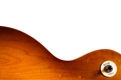 Pattern wood of electric guitar isolate. Pattern wood of electric guitar honey burst color on white background Royalty Free Stock Photo