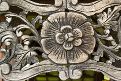 Pattern of wood frame carve. Flower on wood background Royalty Free Stock Image