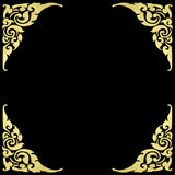 Pattern of wood frame carve flower on black background.  Royalty Free Stock Image