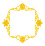 Pattern of wood frame carve flower on white Stock Photos