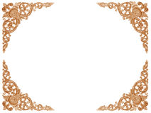 Pattern of wood frame carve flower on wood background Royalty Free Stock Images