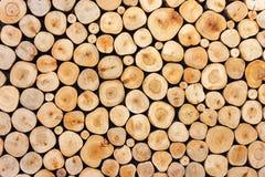 Pattern of wood log pile background stock image