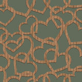 Pattern of wooden hearts. Hearts made of wooden boards on plain background vector illustration