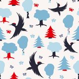 Pattern with woodpeckers. Seamless vector pattern with flying woodpeckers, trees and butterflies. Scandinavian style illustration, perfect for fabric, wrapping Stock Photo