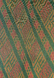 The pattern on the woven fabric. Woven fabric a crafting profession is famous for Amphoe Na Pho. In Buri Ram Province, Here is a major exporter of woven fabric Stock Photo