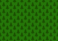 Pattern for wrapping paper. Christmas tree on a green background Stock Image