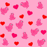 Pattern for wrapping paper and filled with birds and hearts Royalty Free Stock Images