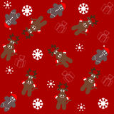 Pattern for wrapping paper and filled with deer and gingerbread vector illustration