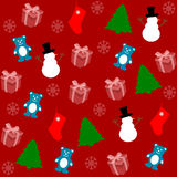 Pattern for wrapping paper and filled with gifts and fir Royalty Free Stock Photos