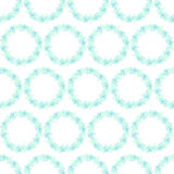 Pattern with wreaths of turquoise, mint and blue flowers on a white background Stock Image