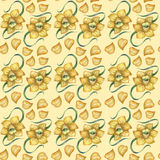 A pattern with a yellow daffodil Royalty Free Stock Images
